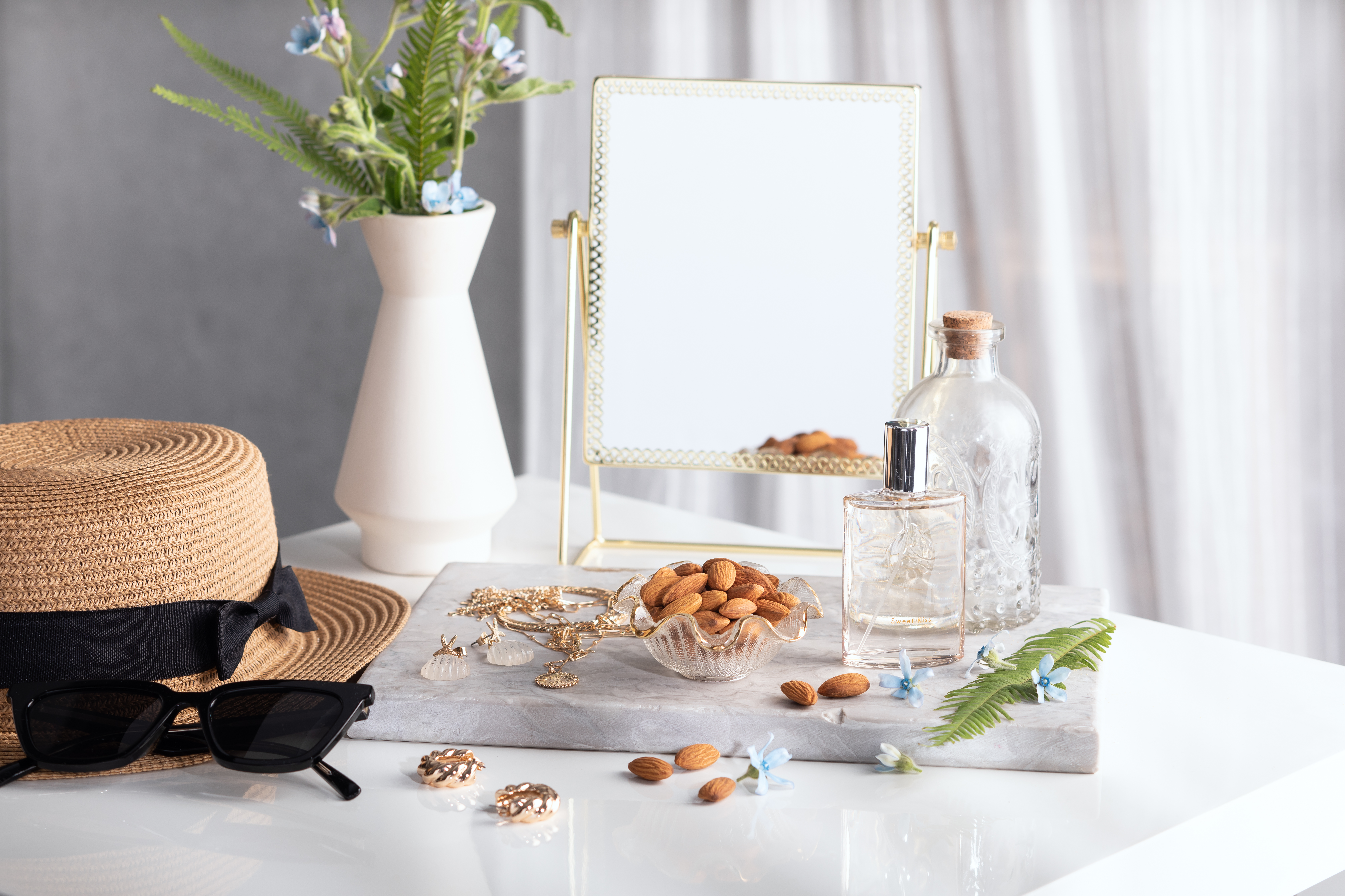 almonds on dressing table